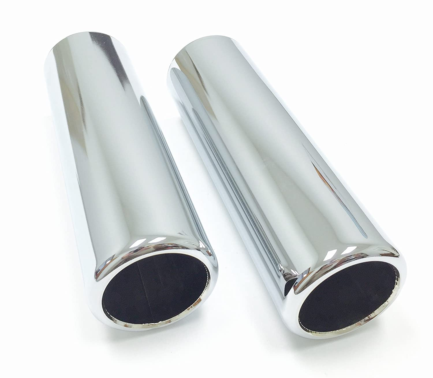 2 Piece Set of Pencil Cut Chrome Exhaust Tips 2' Inlet, 2.25' Outlet, 9' Length 2.25 Outlet 9 Length After Market Auto & More