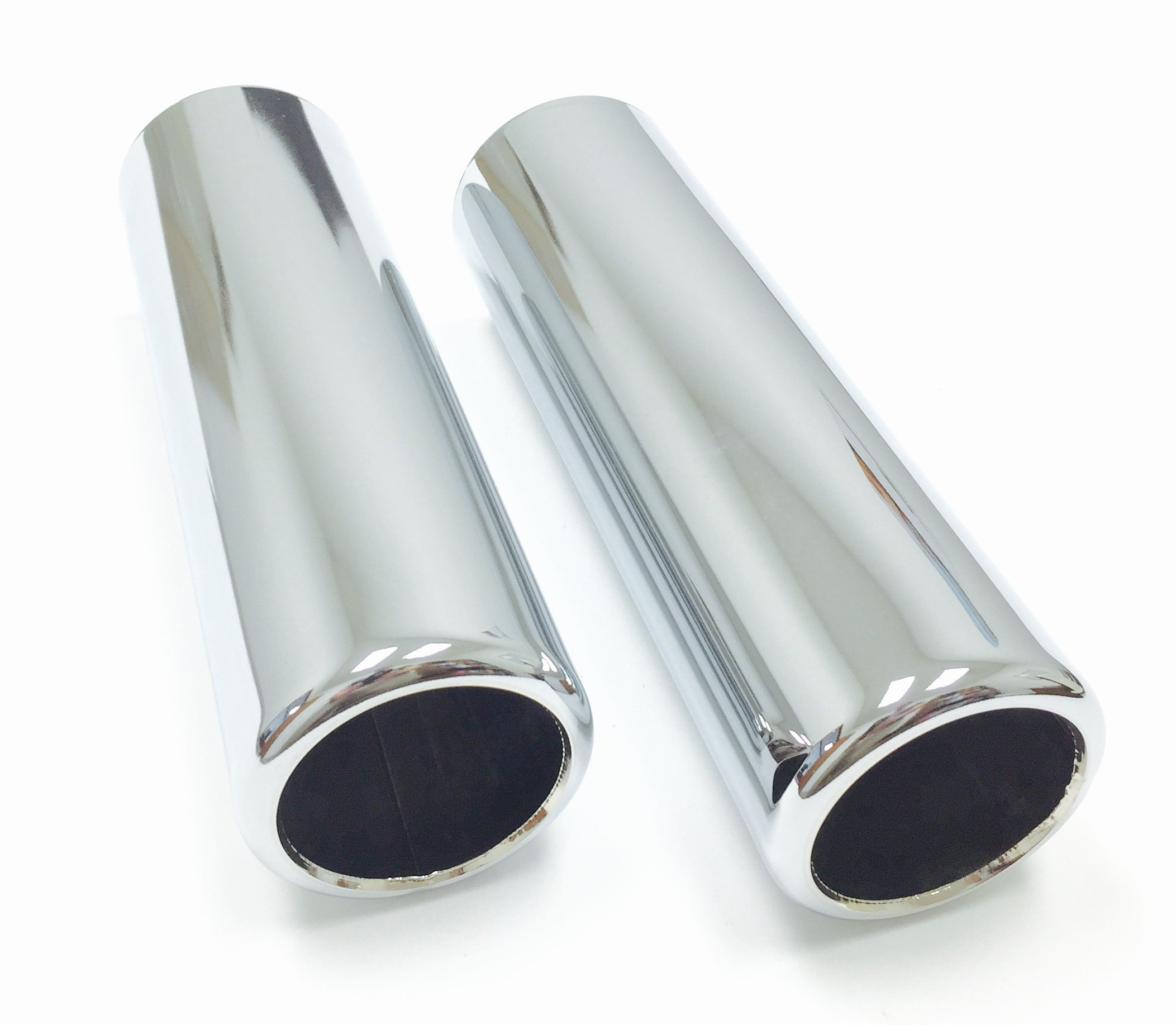 2 Piece Set of Pencil Cut Chrome Exhaust Tips 2.25'' Inlet, 2.50'' Outlet, 9'' Length