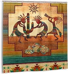 Kokopelli Shower Curtain Sets Southwestern Native American Bath Curtains, Waterproof Thick Polyester Fabric Bathroom Accessories Bathtub Decorative with 12 Hooks 72