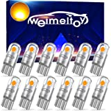 WEIMELTOY 194 LED Car Bulb Amber Yellow 3030 Chipset 2SMD T10 194 168 W5W LED Wedge Light Bulb 1.5W 12V License Plate…