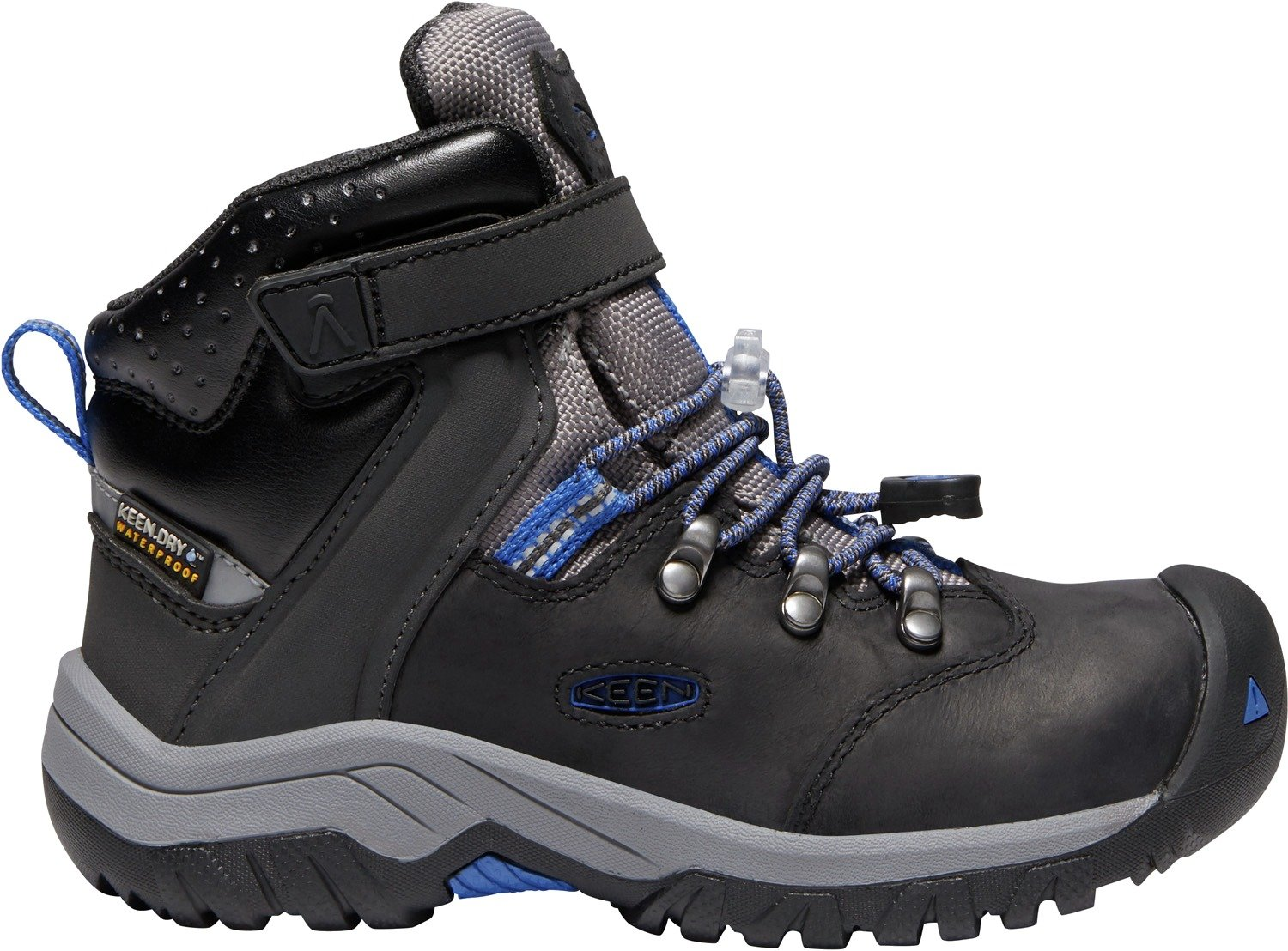 KEEN - Kid's Torino II Mid Waterproof Winter Boots, Black/Baleine Blue, 8 M US Big Kid