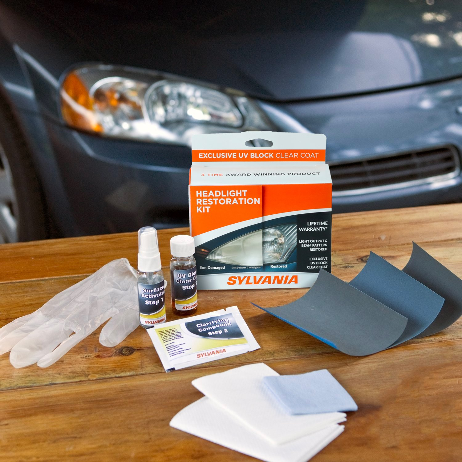 Amazon Com Sylvania Headlight Restoration Kit 3 Easy Steps To