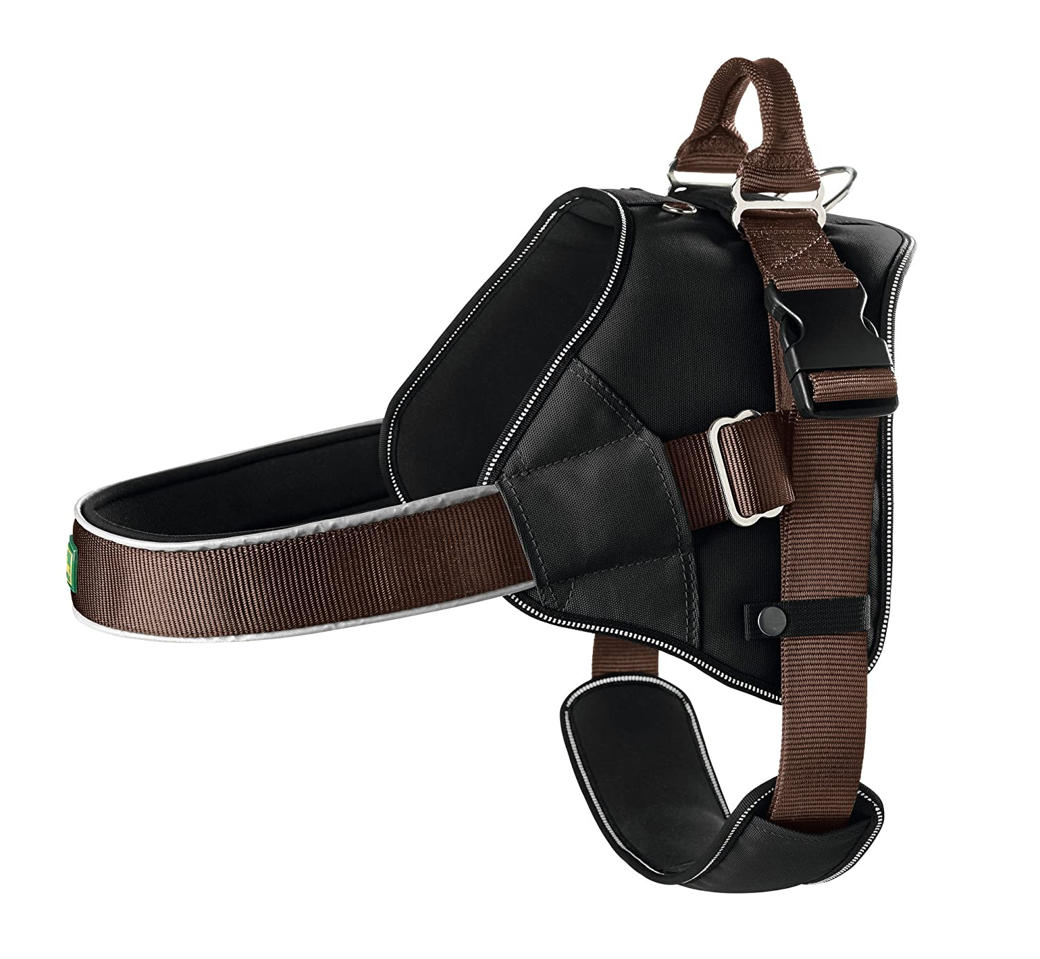 Brown L Brown L HUNTER Neopren Expert Nylon Harness, 64 x 100 cm, 38 mm, Large, Black Brown