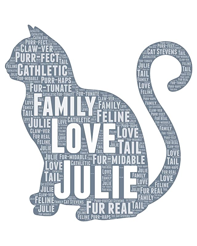 Cat Gifts for Women - Personalized Cat Portrait Gift for Pet Owner - Animal Pet Typography Wordle Wordart Portrait Wall Decor Print 8x10 Inch…