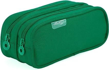 Colorline 59811 - Portatodo Doble, Estuche Multiuso para Viaje, Material Escolar, Neceser y Accesorios. Color Verde, Medidas 21 x 9 x 5.5 cm: Amazon.es: Oficina y papelería
