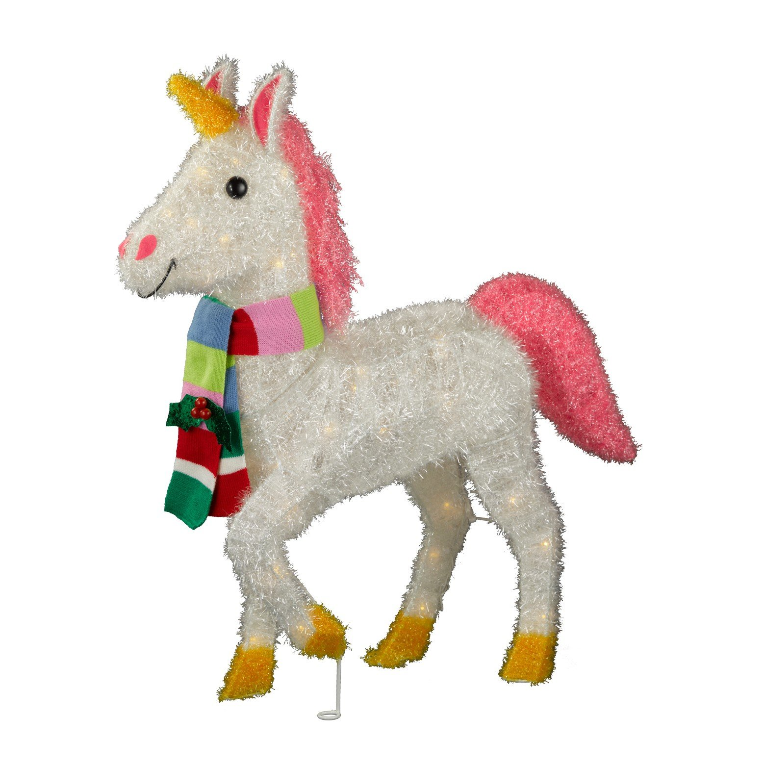 29.5'' Tinsel Lit Unicorn with Scarf