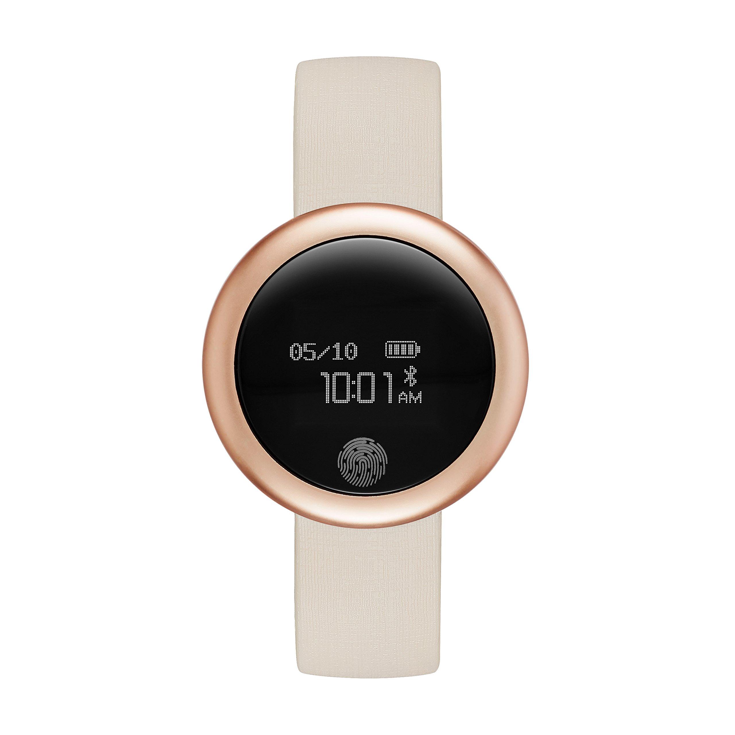 Emotion Unisex Metal and Rubber Smartwatch, Color: Rose Gold-Tone, Light Pink (Model: FMDEM005)
