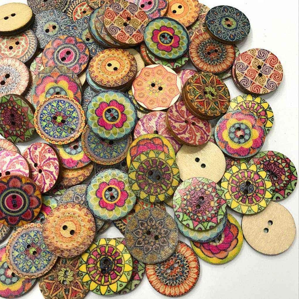 Meisijia 100pcs Bag Rotonda Assortiti Floreale Stampato Bottoni Decorativi di Legno per DIY Crafts Cucito Colore Casuale