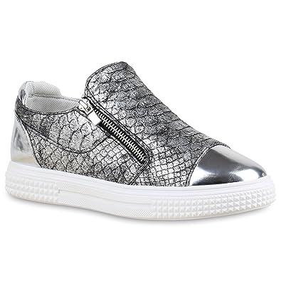 Stiefelparadies Damen Sneakers Zipper Metallic Cap Sneaker Low Kroko Print Sport Trainers Flach Turn Flats Slip-Ons Schuhe 134351 Rose Gold 37 Flandell zcXyv1pF