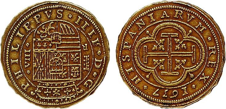 Réplica de color oro Escudos español Armada Bounty monedas tesoro pirata, G73 * * * Una Moneda por pedido * * *: Amazon.es: Hogar
