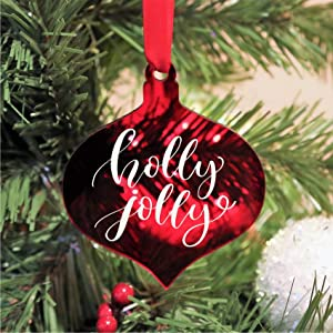 """UNIQOOO 3.25"""" Ruby Red Lantern Acrylic Christmas Ornament 2020, DIY Blank Teardrop Christmas Bauble Tree Decoration, Stocking Name Tag, Tags, 4mm Extra Thick, 20 Pack"""