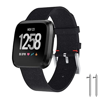 Amazon.com : Fitbit Versa Bands, Charcoal Woven Replacement ...