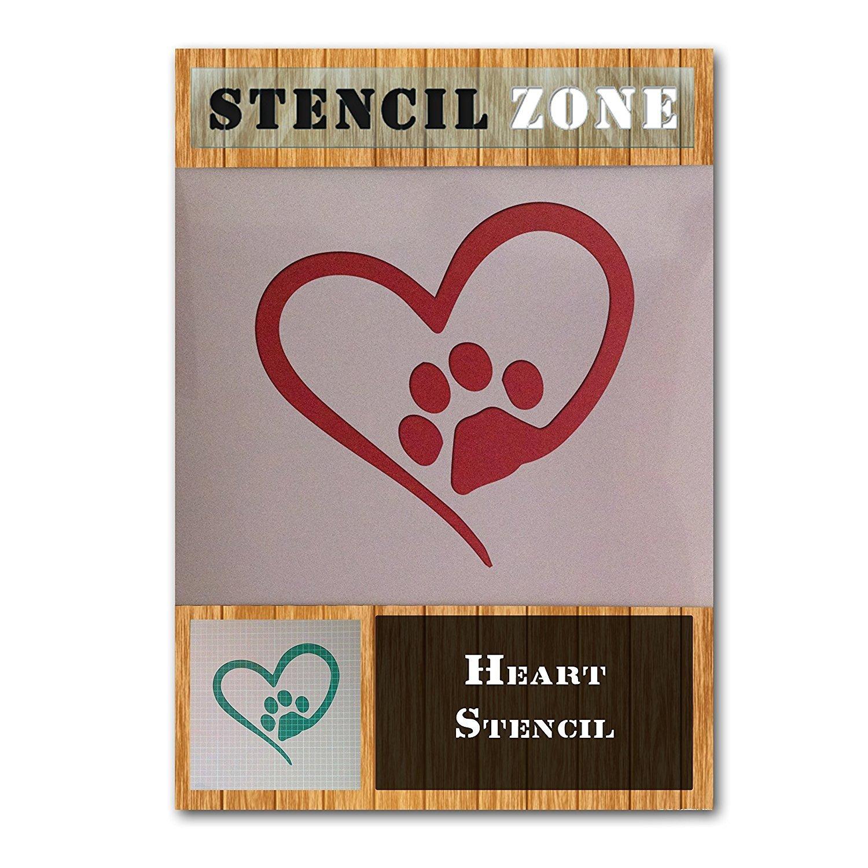 Love Heart Animal Dog Cat Paw Shape Mylar painting Wall Art aerografo A2 Size Stencil - Large STENCIL ZONE