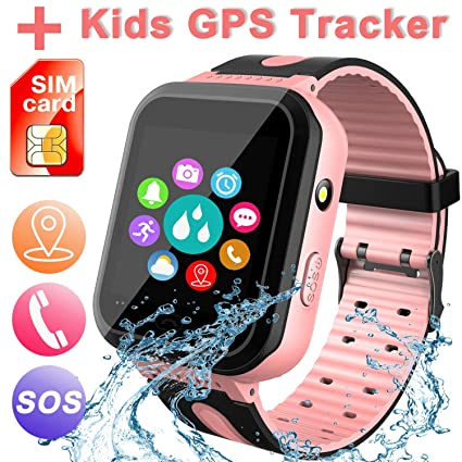 Waterproof Smart Watch for Kids, Activity GPS Tracker Digital Wrist Watch Phone Built in SIM Card SOS Alarm Clock Voice Chat Smartwatch for Kids Age ...
