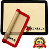 "Silicone Baking Mat Set of 2 Half Sheet (Thick & Large 11 5/8"" x 16 1/2"") by KUM&KUM Non Stick Silicon Liner for Bake Pans & Rolling Cookie Sheets Professional Grade (Red & Black)"