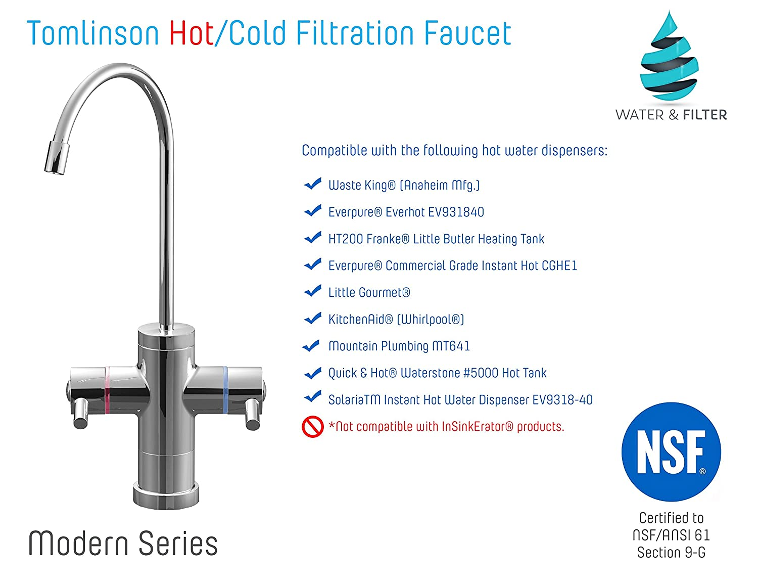 Tomlinson Modern Hot & Cold Dual Handle Faucet for Reverse Osmosis ...