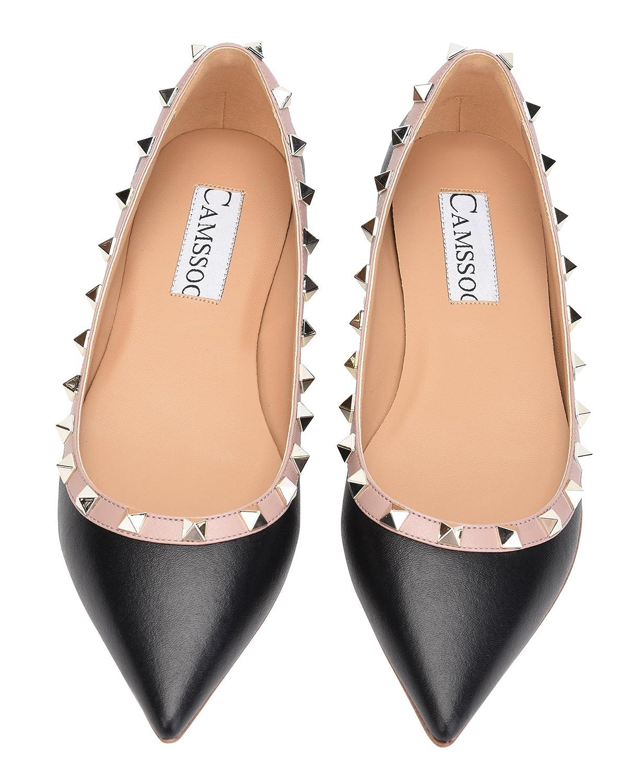 b27161e16 CAMSSOO Mujeres remaches clásicos puntiagudos Slip on Comfort Flats Vestido  Bombas Zapatos Black   Beige Soft Pu
