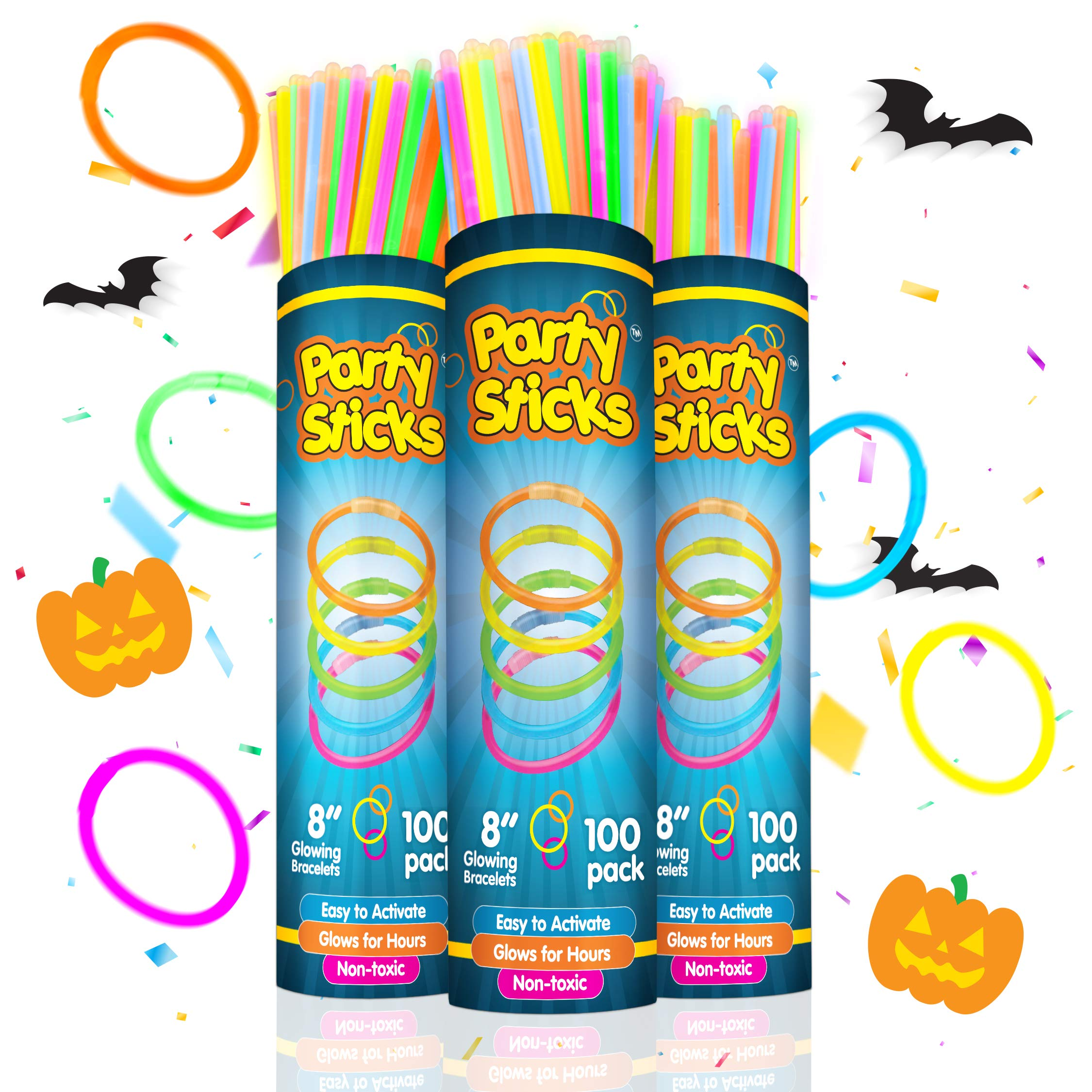 Party Sticks Glow Sticks Jewelry Bulk Party Favors 300pk and Connectors - 8'' Glow in the Dark Party Supplies, Neon Party Glow Necklaces and Glow Bracelets for Kids and Adults by PartySticks