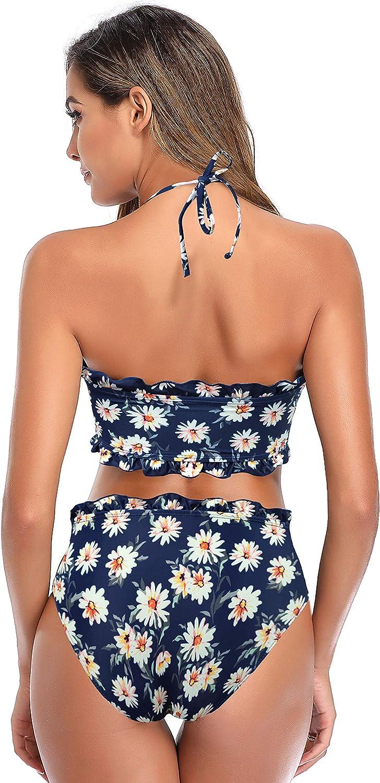 SHEKINI Bikini Imbottito Costume da Bagno Donna Bikini Bandeau Top Halter Regolabile Costumi Donna Due Pezzi Stampati con Bordo Arricciato Avvolgente Ruffle Trim
