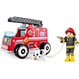 Hape Fire Truck Playset| Wooden Fire Engine Toy with Action Figure & Rescue Dog
