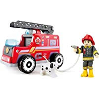 Hape Fire Truck Toy, 7.9-Inch Length x 4.6-Inch Width x 5.9-Inch Height, Multi-Colour (E3024)