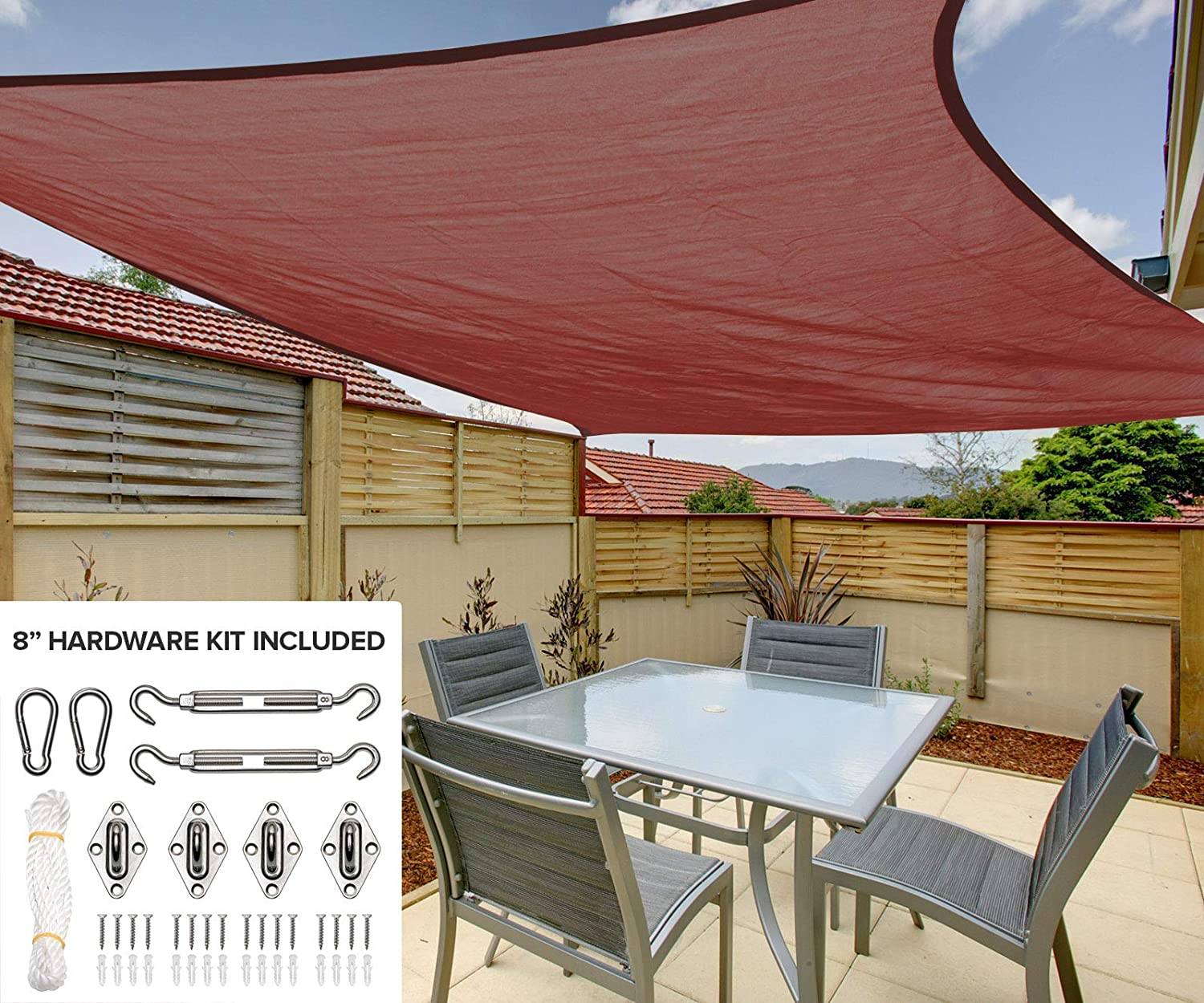 10 x13 Rectangle Sun Shade Sail Canopy in Mahogany – Durable Outdoor Patio Cover Pergola Awning – Heavy Duty 8 inch Stainless Steel Hardware Kit 10 x13 Rectangle, Mahogany