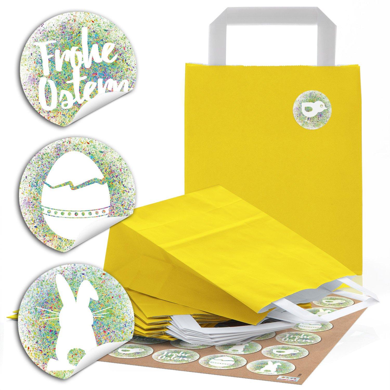24 amarillas bolsas de papel de papel Bolsas Asa de bolsas ...