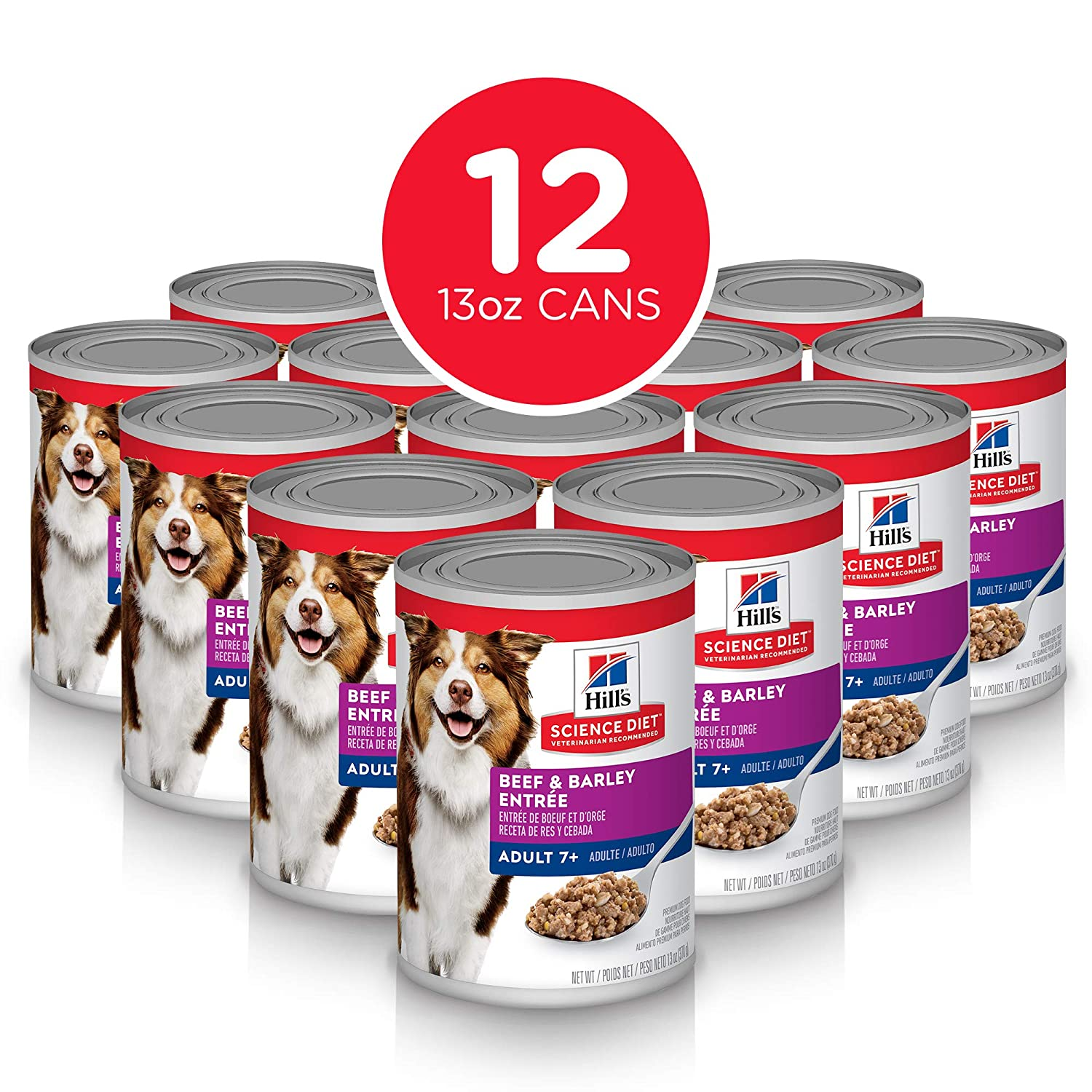 12.8 oz, 12 Pack Hill's Science Diet Pack of 12 Canine Mature Adult 7+ Savory Stew Beef and Vegetable 363g 12.8-Ounce Cans