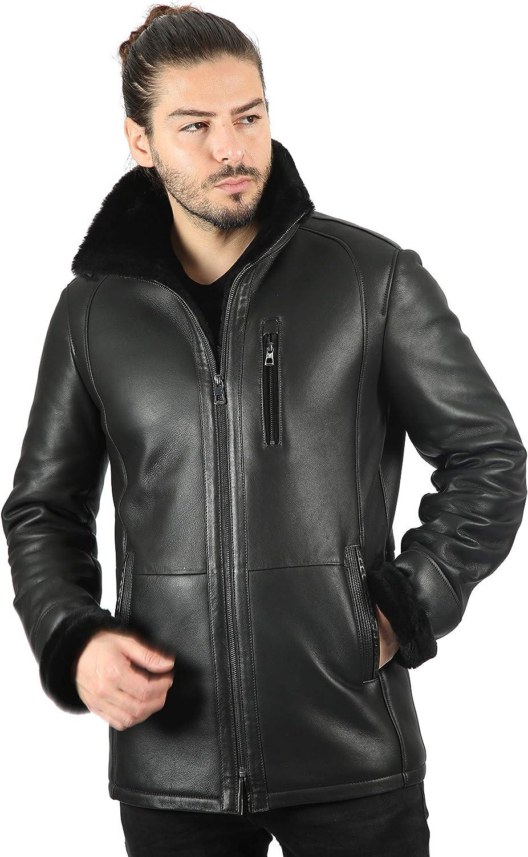 Hombres Chaqueta de Piel de Oveja Negro cálido Invierno Premium Chaqueta de Piel de Oveja Real 2024-2