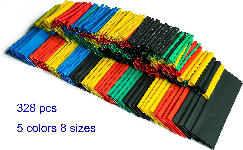 328Pcs 5 Colors 8 Sizes 2:1 Heat Shrink Tubing Wrap Connection Sleeve Kit Super Deals 18X14X2CM