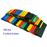 SummitLink Pack of 328 Pcs Assorted Heat Shrink Tube 5 Colors 8 Sizes Tubing Wrap Sleeve Set Combo