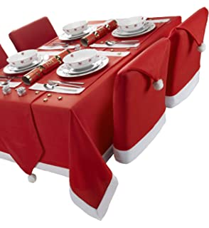 f42df2c51a7b1 Santa s Table Red and White Rectangular Tablecloth Ideal For 6-8 Place  Settings (52x90inch
