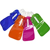Set of 4 Multi-Colors Water2Go Flexible Collapsible Foldable Reusable Water Bottles Set of 4 (Set of 4 Bright Colors)