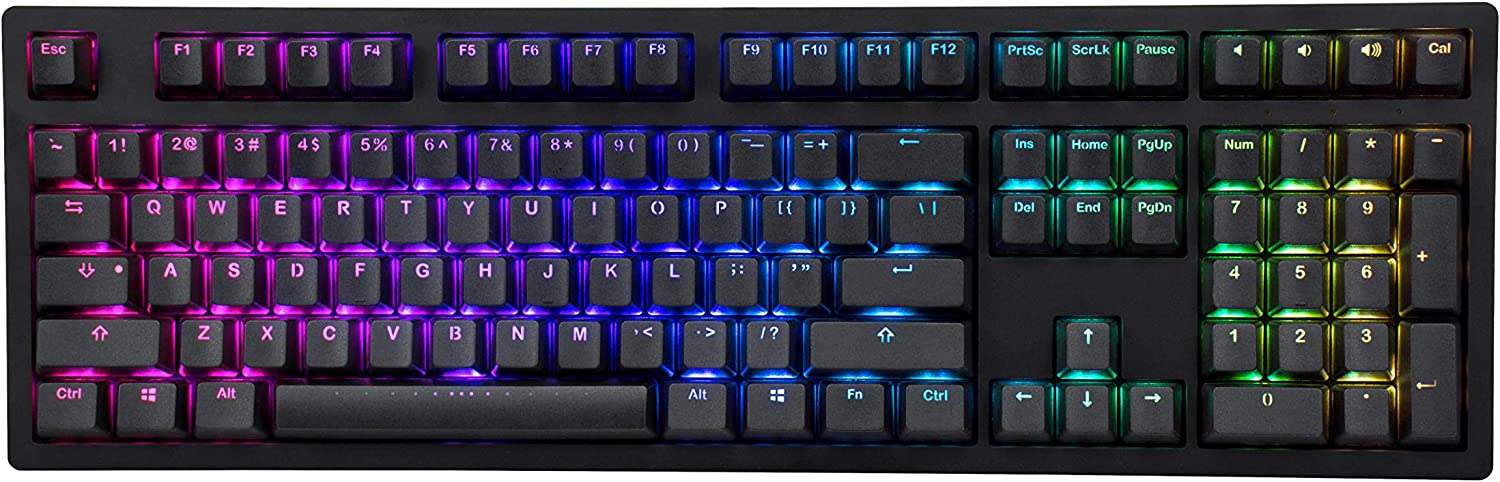 iKBC MF108 v3 RGB LED Backlit Mechanical Keyboard with Cherry MX Silent Red Switch for Windows and Mac, Full Size Computer Keyboards with Double Shot Keycaps, CNC Aluminum Black Color Case, ANSI/US