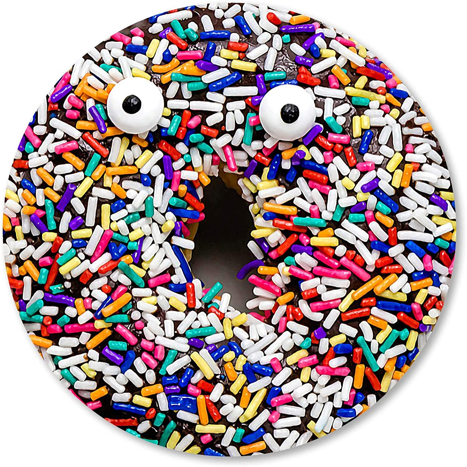 IMAYONDIA Round Mouse Pad Donut with Colorful Sprinkles,Funny Chocolate Doughnut Mouse Pads for Kids,Realistic Food Design Circular Mousepad for Laptop Computers