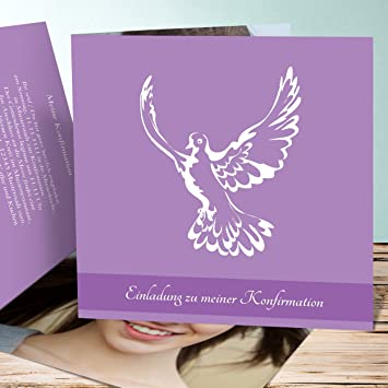 Konfirmationskarten Basteln Flügel 5 Karten Quadratische