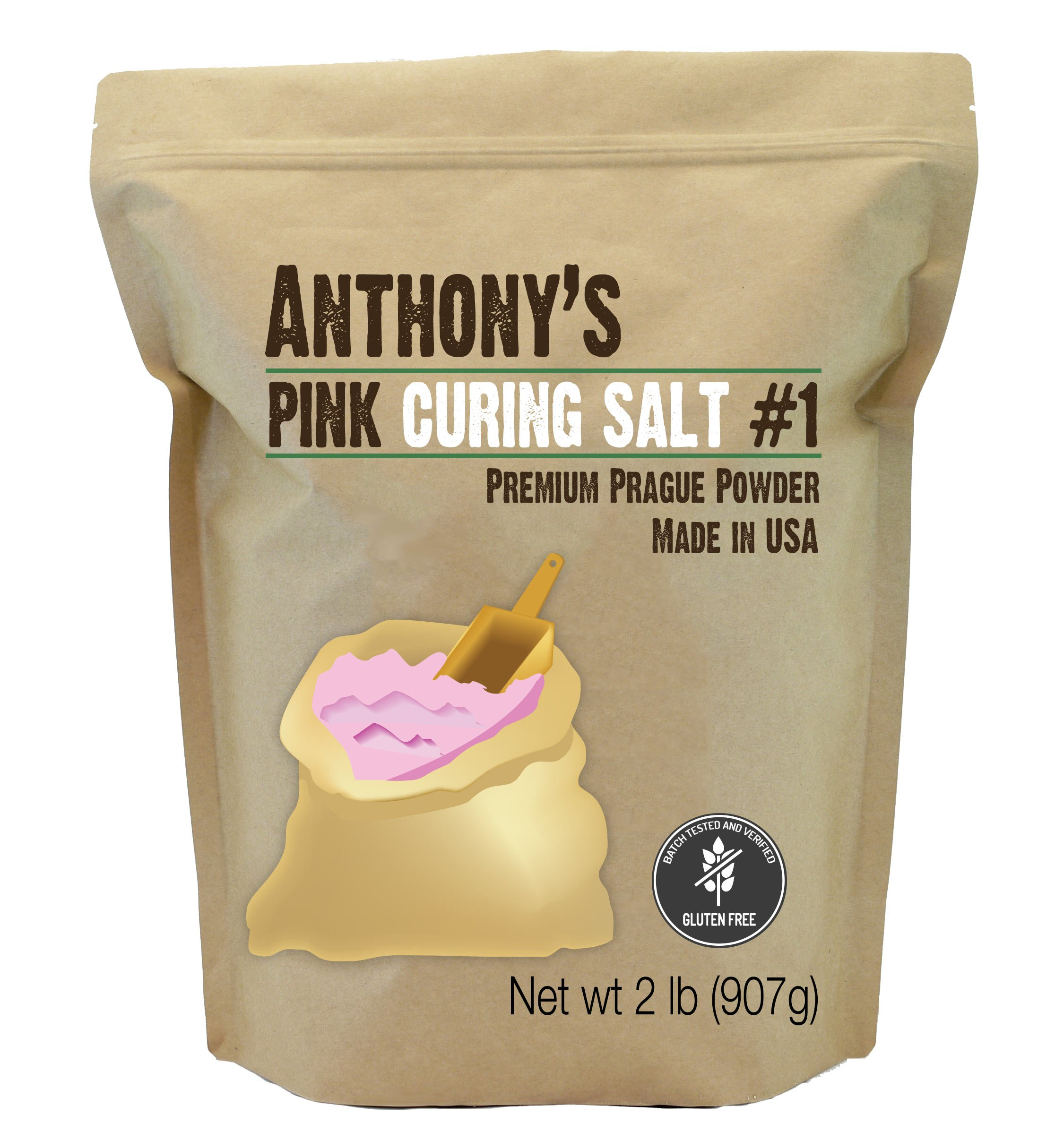 Pink Curing Salt #1 (2lb Prague Powder) by Anthony's, Verified Gluten-Free