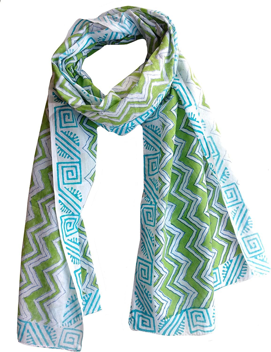 Scarfs for women 100% Pure cotton indian design hand block printed mini stall for girls 70x20 inch from Rastogi handicrafts