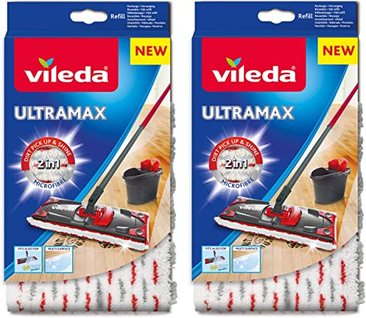 Vileda Ultramax 1 2 Spray Replacement Microfibre Pads Pack Of 2 Amazon Co Uk Kitchen Home