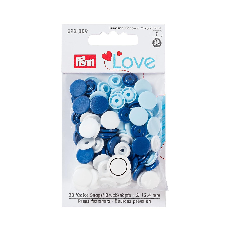 Prym 30 Nähfrei-Druckknöpfe Color-Snaps 12,4 mm Herz hellblau