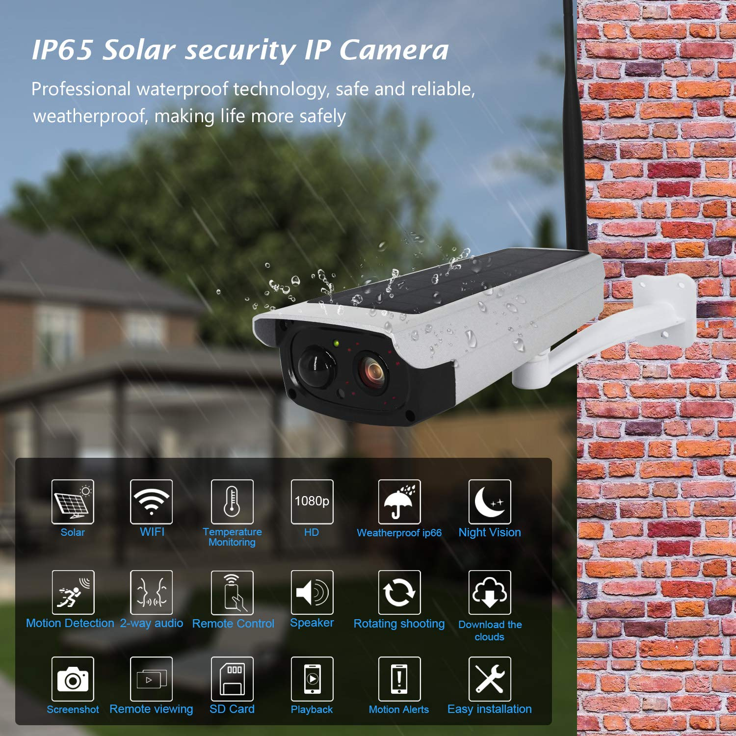 Sanan Outside Solar Camera,Cordless IP Camera WiFi Camera Weatherproof 1080P Security Camera Night Vision PIR Alarm APP for Android and iOS