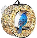 BirdMaster Window Bird Feeder - Acrylic Circular Design - Squirrel Proof - Easy Installation & Cleaning - House All Types of Small Wild Birds [Gift-Ready Premium Packaging]