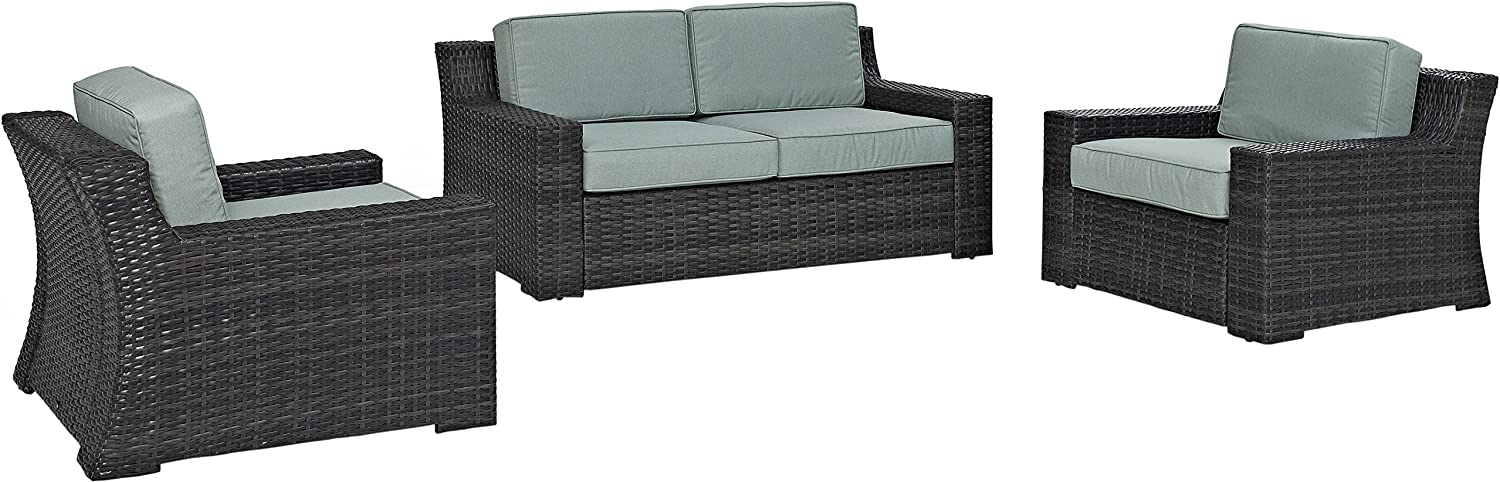 Crosley Furniture KO70098BR Beaufort 3-Piece Outdoor Wicker Seating Set, Brown with Mist Cushions