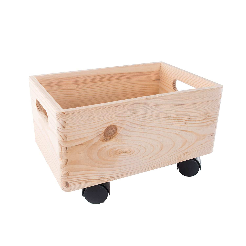 Search Box Peque/ño de Madera apilables Caja de Almacenamiento con Asas y Ruedas Caja de almacenaje//organizaci/ón//-30/cm