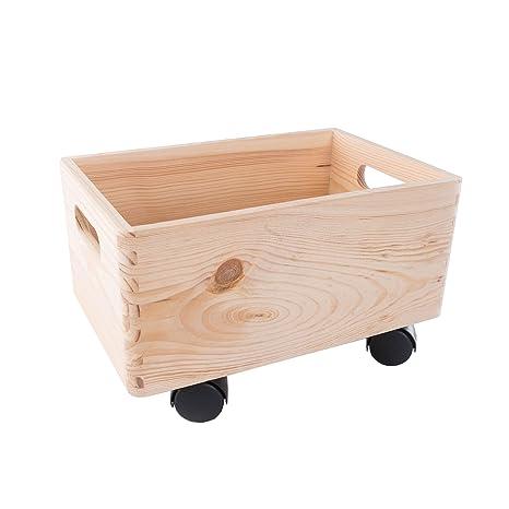 Search Box Pequeño de Madera apilables Caja de Almacenamiento con Asas y Ruedas Caja de almacenaje