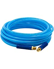 "FIXSMITH-Reinforced-Polyurethane-Air-Hose,300 PSI,25 Feet x 1/4 Inch,PU Air Compressor Hose with 1/4"" MNPT Brass Swivel End Fittings and Heavy Duty Bend Restrictors,Blue"