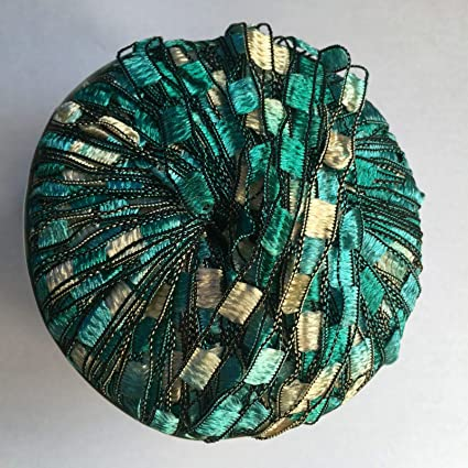 Mermaid Glitz Ladder Ribbon Yarn Dark Horse Beautiful #B106 Turquoise Green Silv