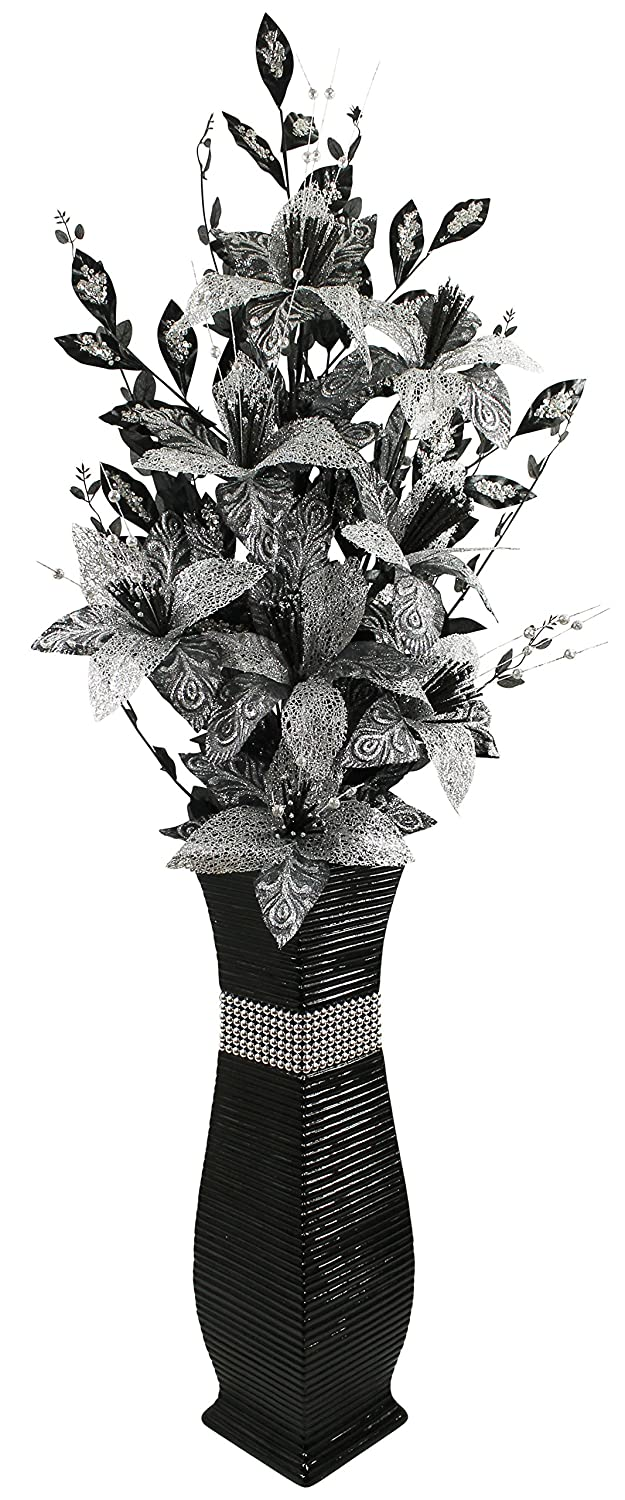 Large black floor vase with black and silver sparkle artificial large black floor vase with black and silver sparkle artificial flowers bling 13m tall amazon kitchen home reviewsmspy