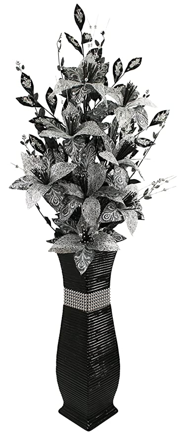 Large black floor vase with black and silver sparkle artificial large black floor vase with black and silver sparkle artificial flowers bling 13m mightylinksfo