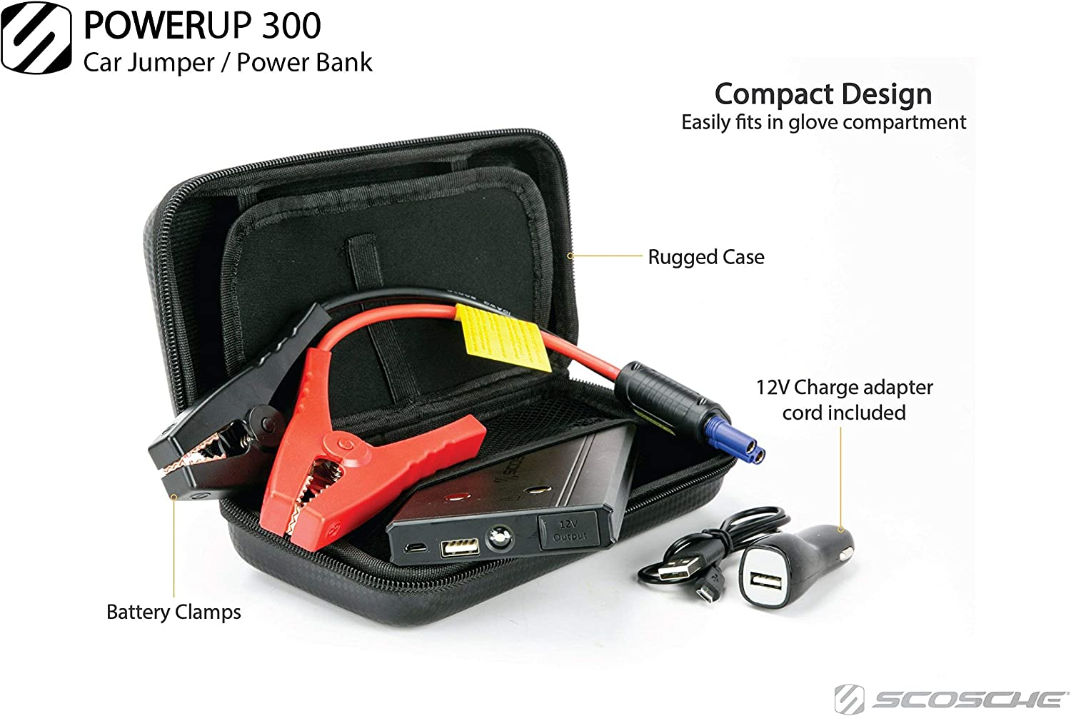 SCOSCHE PBJ300-1 PowerUp 300 Portable Car Jump Starter with 5,400 mAh 300A Portable Battery USB Port and Built-in LED Flashlight for use with Batteries in 4 and 6-Cylinder Vehicles or Motorcycles